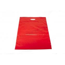 Bolsas de plástico asa troquelada 35x45 cm rojo 100 unidades Tridecor