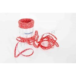 Cinta de ráfia vermello con branco estrelas 5 mm