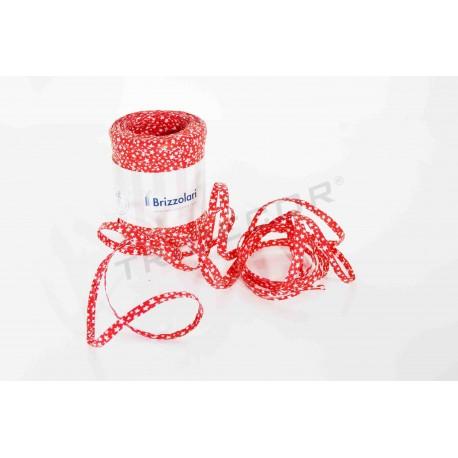 Cinta de rafia roja con estrellas blancas 5 mm