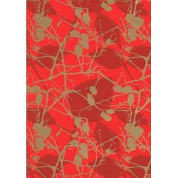 Papel de regalo ramas fondo rojo 62 cm, tridecor