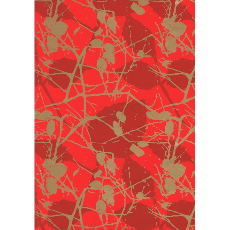 Carta Regalo Rami Sfondo Rosso 62 Cm