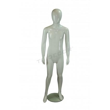 Maniquí adolescent noi de fibra de vidre de color brillantor blanc