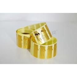 Etiqueta adesiva, boas festas. Dourado. 500 pçs., tridecor