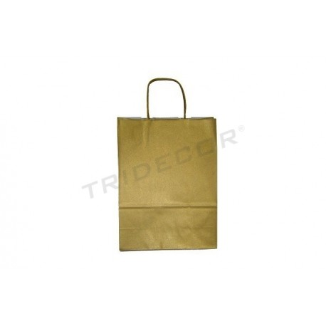 010593 Bolsa de papel celulosa color oro, 27x37x12 cm 25 unidades. Tridecor