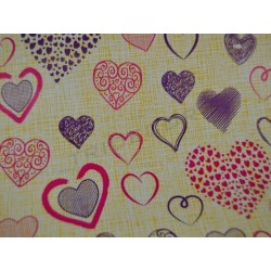 Gift paper hearts varied background yellow 31cm