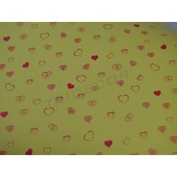 Papel de presente corações pequenos fundo amarelo 31cm