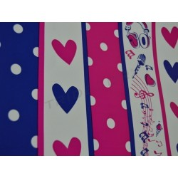 Gift wrapping paper with wide stripes silver/fuchsia 31cm