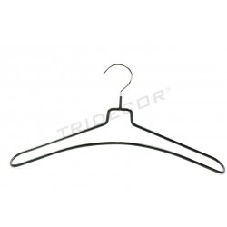 Coat hanger coated in black rubber, 5 units, tridecor