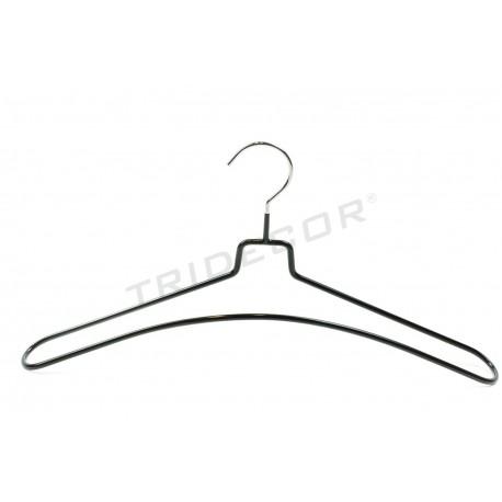 Coat hanger coated in black rubber, 5 units, tridecor