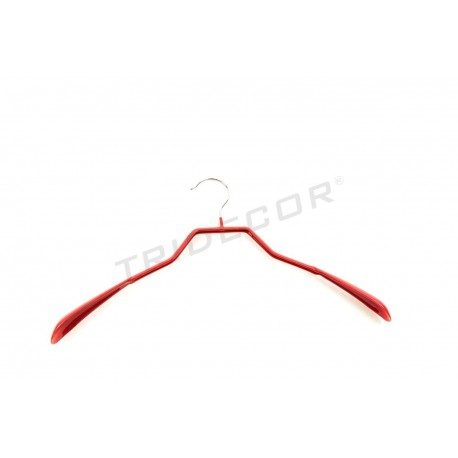 Coat hanger coated in red rubber 42 cm 5 units, tridecor