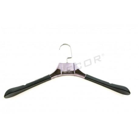 Percha polipiel negra, ancho especial, 43 cm, precio unitario, tridecor