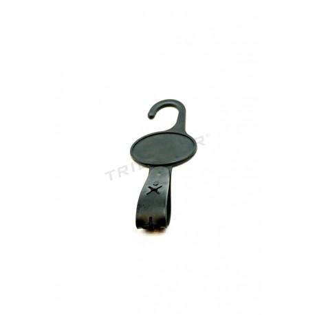 Percha plastico negro individual con automatico, 100 unidades, tridecor