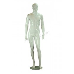 Maniquí de hombre de fibra de vídrio color blanco brillo, tridecor