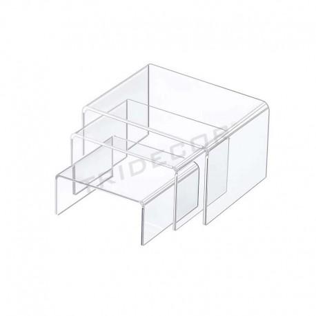 Set acrylic C shape 3 heights, tridecor