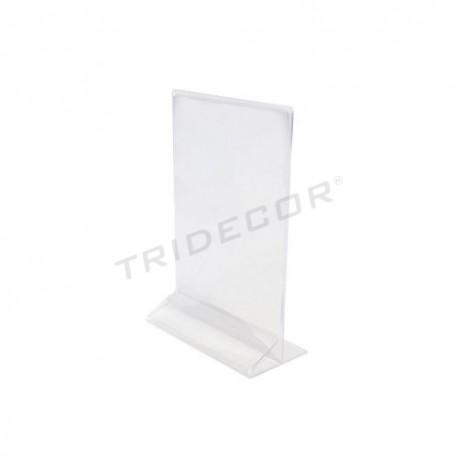 007132 Portacarteles acrílico transparente A4 33x21x7 cm. Tridecor