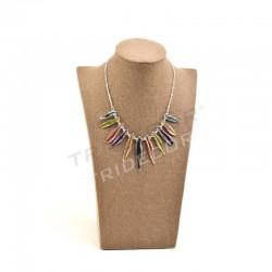 Expositor de colares, linho marrom, tridecor