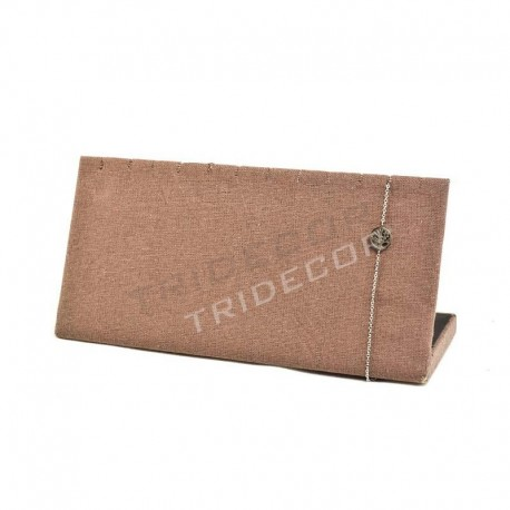 Expositor horizontal de pulseras, lino marron, tridecor