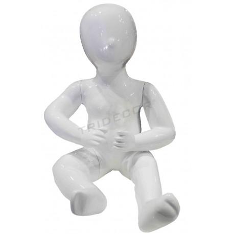 Maniquí infantil niño sentado de 1 año color blanco brillo