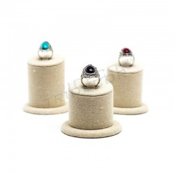 EXHIBITOR OF RINGS, LINEN BEIGE, 3 HEIGHTS