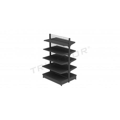 Metall prestatge góndola gris amb malla 120x200 cm, tridecor
