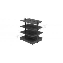 En métal étagère de gondole gris en mesh, 120x150cm., tridecor