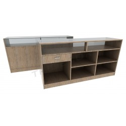 Mostrador color Oak claro,180cm, tridecor