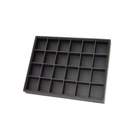 009397 Expositor joyeria con 24 compartimentos, polipiel negro. Tridecor