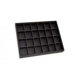 009397 Expositor caso xoias con 24 compartimentos, a imitación de coiro negro. Tridecor