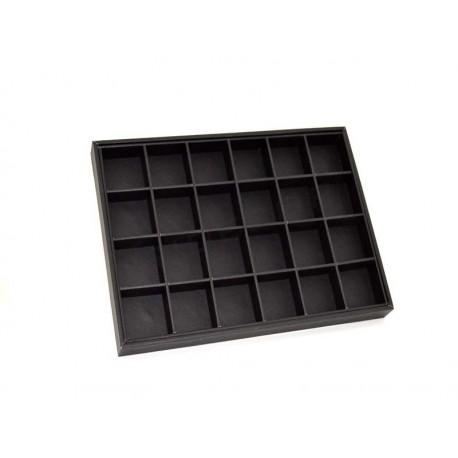 009397 Espositore caso di gioielli con 24 scomparti, in similpelle nero. Tridecor