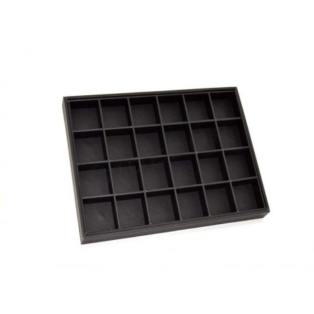 009397 Expositor joieria cas amb 24 compartiments, d'imitació de pell negre. Tridecor