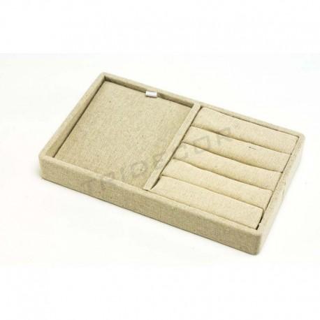 Bandeja joyería, lino beige 20x12x2.5 cm, tridecor