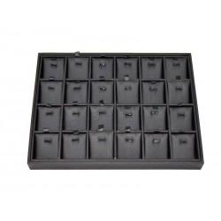 Expositor de xoias caso 24 compartimentos de imitación de coiro negro, tridecor