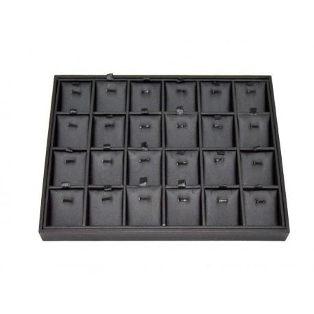 Expositor de joieria cas 24 compartiments imitació de cuir negre, tridecor