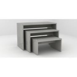 Table exhibiting, matte grey, tridecor