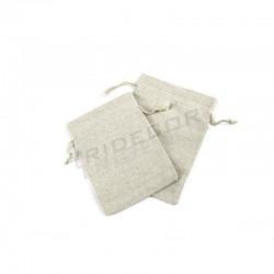 Borsa in tessuto di lino beige 18x14 cm, tridecor