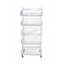 033134 Exhibitor metalic with 5 baskets in a white color. Tridecor
