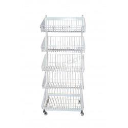 033134 Expositor metalico con 5 cestas color blanco. Tridecor