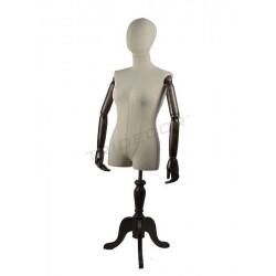 Busto de muller brazos articulados e un pé de madeira