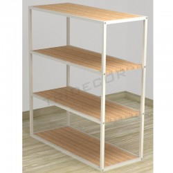 038161AB Expositor 4 Expositor 4 prateleiras branco madeira de bétula 108x94x39 cm Tridecor