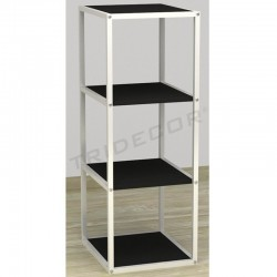 038157NG Exhibitor 4 shelves white wood black 108x44x39 cm, tridecor