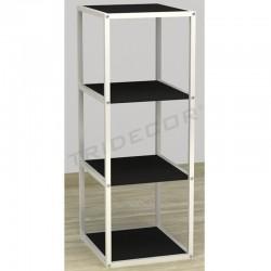 038157NG Expositor 4 estantes blanco madera negra 108x44x39 cm, tridecor