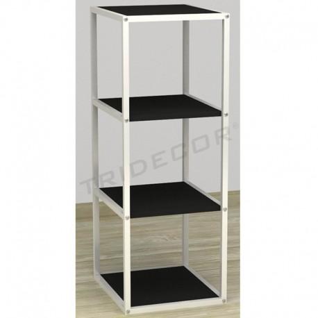 038157NG Exhibitor 4 shelves white wood black 108x44x39 cm, tridecor