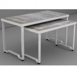 Mesas expositoras conxunto de 2 alturas de cor branca, tridecor