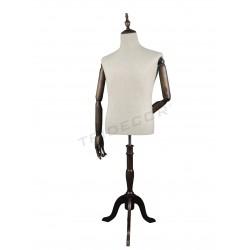 Busto hombre tela con brazos y pie de madera, tridecor