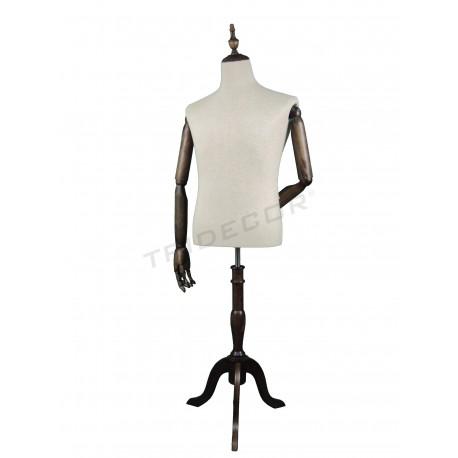 Busto home tecido con brazos e un pé de madeira, tridecor