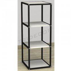 038158BL Exhibitor 4 shelves black wood white. Tridecor