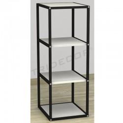 038158BL Expositor 4 estantes negro madera blanca. Tridecor