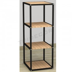 038158AB Exhibitor 4 shelves black wood birch 108x44x39 cm Tridecor