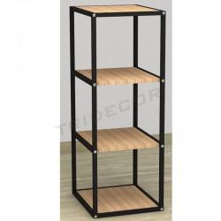 038158AB Expositor 4 estantes negro madera abedul 108x44x39 cm. Tridecor