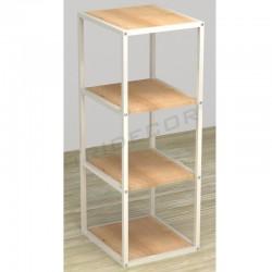 038157AB Expositor 4 estantes blanco madera abedul. Tridecor